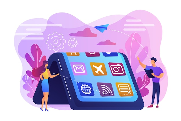 Winzige leute am großen smartphone mit flexiblem display. biegsame gerätetechnologie, flexibles anzeigegerät, elektronikkonzept der nächsten generation. helle lebendige violette isolierte illustration