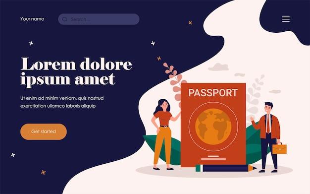 Winzige leute, die mit ausländischem pass reisen. flache vektorillustration für personalausweis, staatsbürgerschaft, dokumentenprüfungskonzept