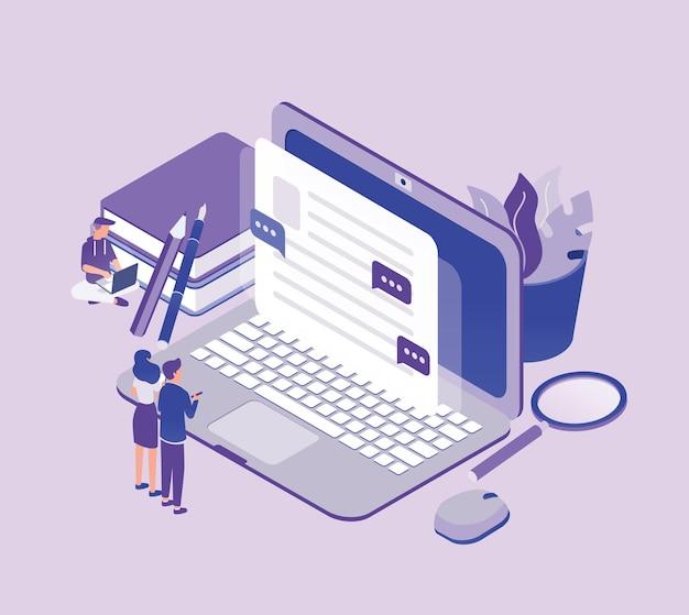 Winzige leute, die vor dem riesigen laptop stehen und text auf dem bildschirm betrachten. konzept von copywriting, digitalem marketing, content management und seo. moderne isometrische darstellung.