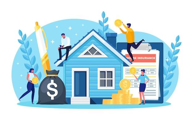 Winzige leute kaufen verschuldet ein haus. menschen investieren geld in immobilien. hypothekendarlehen, eigentum und ersparnisse. immobilieninvestition, hauskauf