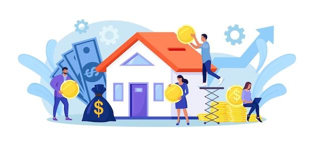 Winzige leute kaufen verschuldet ein haus. menschen investieren geld in immobilien. hypothekendarlehen, eigentum und ersparnisse. zuhause ist wie ein sparschwein. immobilieninvestition, hauskauf
