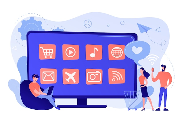 Winzige leute mit laptop, einkaufswagen mit smart-tv mit apps. smart-tv-anwendungen, smart-tv-marktplatz, konzept zur entwicklung von tv-apps