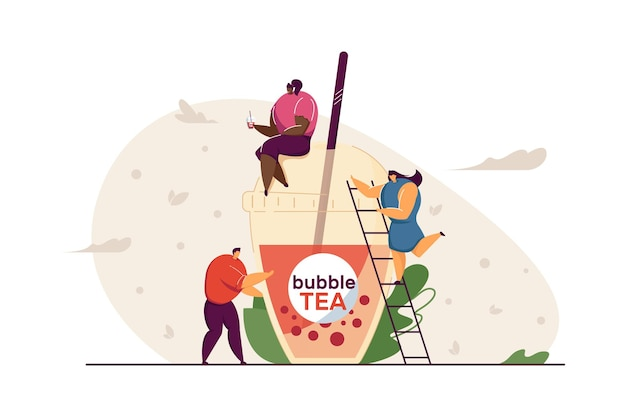 Winzige leute mit plastikbecher bubble tea