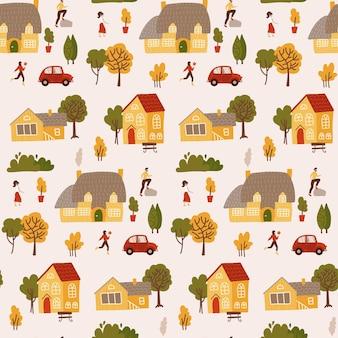 Winzige leute, umgeben von häusern und bäumen, nahtloses muster