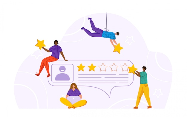Winzige mädchen, männer und kundenprofil - feedback- oder überprüfungskonzept und bewertung des onlinedienstes