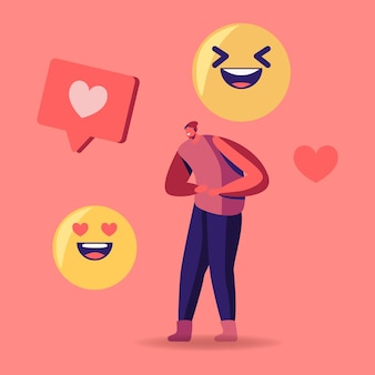 Winzige männliche figur in teenie-kleidung, die mit riesigen emoji-lächeln und herz-social-media-symbolen lacht. cartoon-illustration