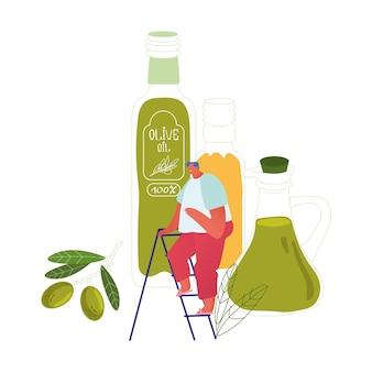 Winzige männliche figur stehen auf der leiter bei riesigen glasflaschen mit nativem olivenöl extra und zweig mit grünen frischen oliven