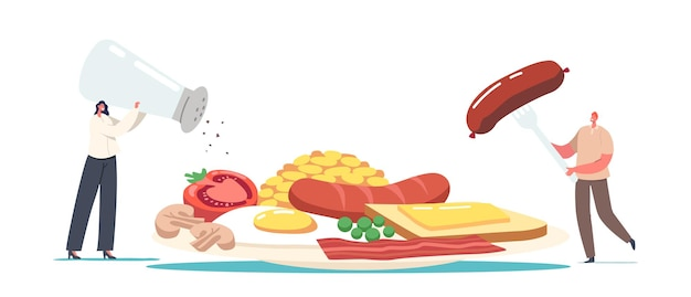 Winzige männliche und weibliche charaktere auf riesigem teller mit englischem full fry up breakfast bacon, würstchen mit spiegelei, bohnen, tomaten oder pilzen, toast mit geschmolzener butter. cartoon-menschen-vektor-illustration