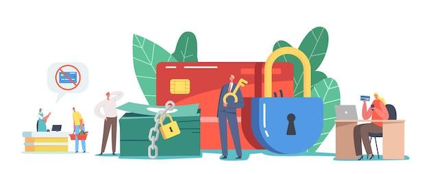 Winzige männliche und weibliche charaktere bei riesiger gesperrter kreditkarte und sperre auf geldstapel. zahlungssperre im supermarkt oder während des online-shopping-prozesses, bankverbotskonzept. cartoon-menschen-vektor-illustration