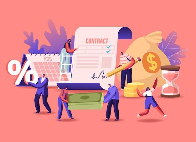 Winzige männliche und weibliche charaktere, die einen kreditvertrag unterzeichnen. männer und frauen leihen sich geld bei der bank für hypotheken, den kauf von immobilien, menschen mit prozentsymbol und währungsrechnungen. cartoon-vektor-illustration