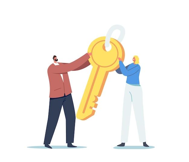Winzige männliche und weibliche charaktere, die einen riesigen goldenen schlüssel halten. geschäftsmotivation, komplizierte aufgabenlösung, sicherheit oder gelegenheit, geheimnis und kreativitätskonzept. cartoon-menschen-vektor-illustration