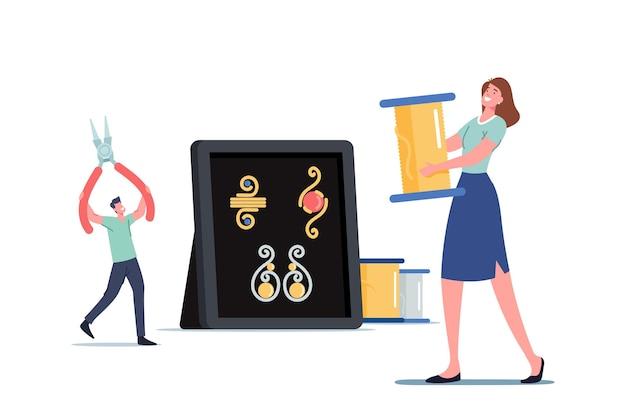Winzige männliche und weibliche charaktere, die riesige schermaschinen und drahtspulenständer an der box mit wunderschönem handgefertigtem schmuck halten. kreatives hobby, handwerk für den verkauf von bijouterie-konzept. cartoon-vektor-illustration