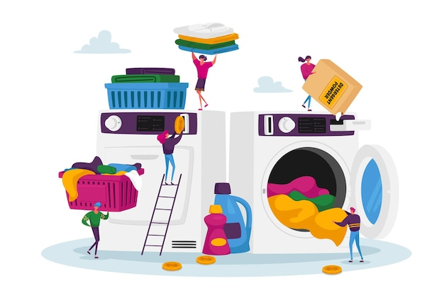 Winzige männliche und weibliche charaktere, die wäsche besuchen und schmutzige kleidung in eine riesige waschmaschine laden