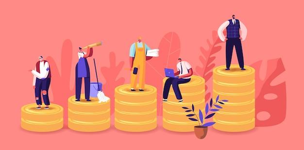 Winzige männliche und weibliche charaktere verschiedener klassen stehen auf riesigen goldenen haufen. gesellschaftsstruktur, arbeitsloser, hausfrau, ingenieur, manager, kaufmannsarbeit. cartoon-menschen-vektor-illustration