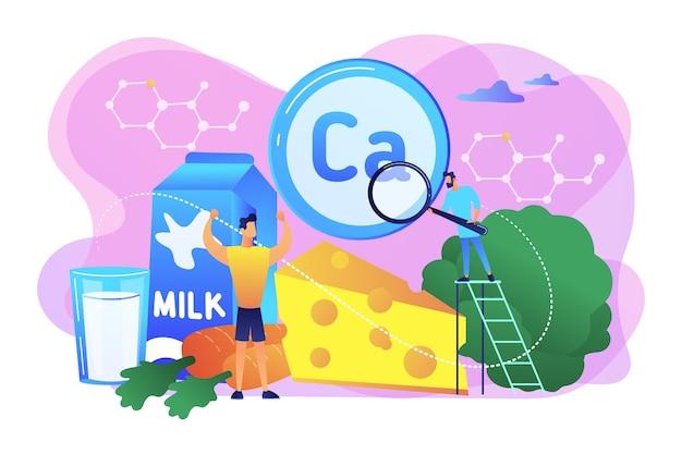Winzige menschen, gesunder sportler mit kalziumreichen bio-lebensmitteln. verwendung von kalzium, kalzium-nahrungsergänzungsmitteln, starken knochen und zähnen konzept.