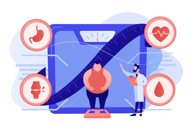 Winzige menschen, übergewichtiger mann auf der waage und arzt mit adipositas. gesundheitsproblem mit fettleibigkeit, hauptursachen für fettleibigkeit, behandlungskonzept für übergewicht. isolierte illustration des rosa korallenblauvektors