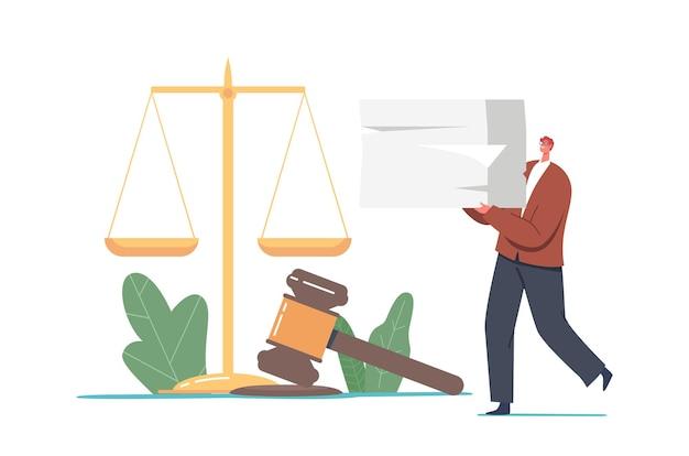 Winzige notar- oder anwaltsfigur trägt einen riesigen haufen mit rechtsdokumenten in der nähe von hammer und waage. anwaltsservice, notarielle beglaubigung von dokumenten, öffentliches amt. cartoon-vektor-illustration