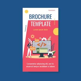 Winzige programmierer-programmierwebsite für internetplattform-broschürenvorlage