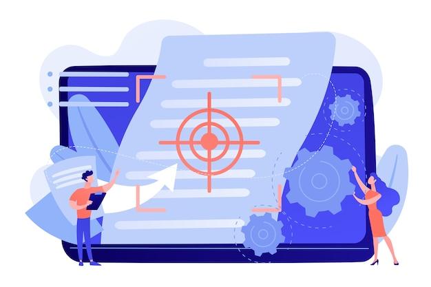 Winzige projektmanager arbeiten an visions- und scope-dokumenten. visions- und umfangsdokument, projekthauptplan, projektmanagementdokumentkonzept