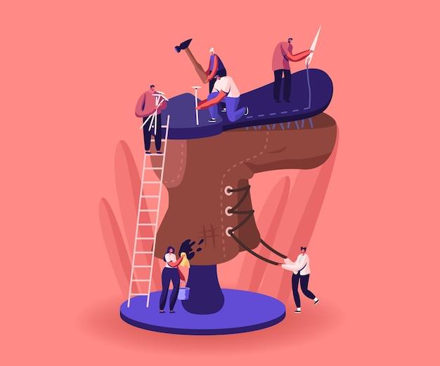 Winzige schuhmacherfiguren reparieren riesige alte abgenutzte stiefel schmutz entfernen, sohle festnageln, schnürsenkel binden. meister mit werkzeugen und instrumenten bei der reparatur von kaputten schuhen in der werkstatt. cartoon-menschen-vektor-illustration