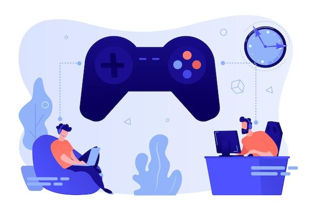 Winzige spieler, die online-videospiele, einen riesigen joystick und eine uhr spielen
