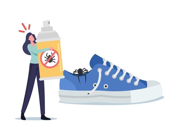 Winzige verängstigte frau mit spray gegen schädlinge in der nähe von riesigem sneaker mit gruseliger spinne im inneren. mädchen angst vor insekten. weiblicher charakter leidet unter arachnophobie-panik. cartoon-menschen-vektor-illustration