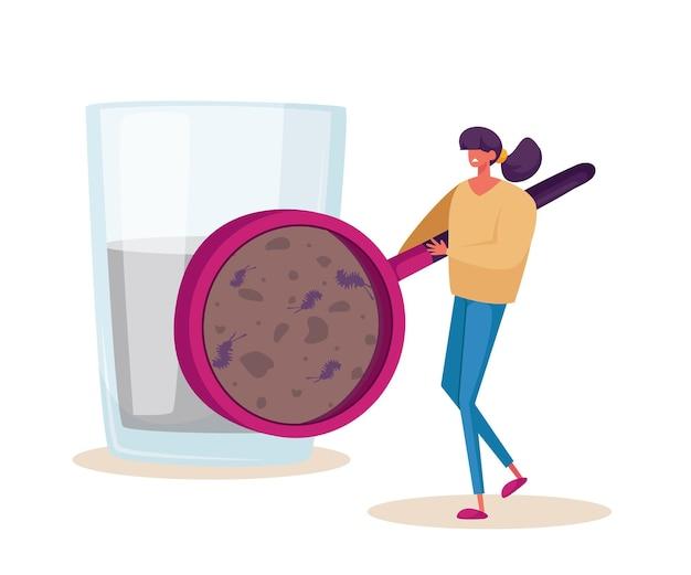 Winzige weibliche figur, die auf mikroorganismen schaut, die in schmutzigem wasser durch riesige lupe leben. frau demonstrieren mikroben in ungefiltertem aqua