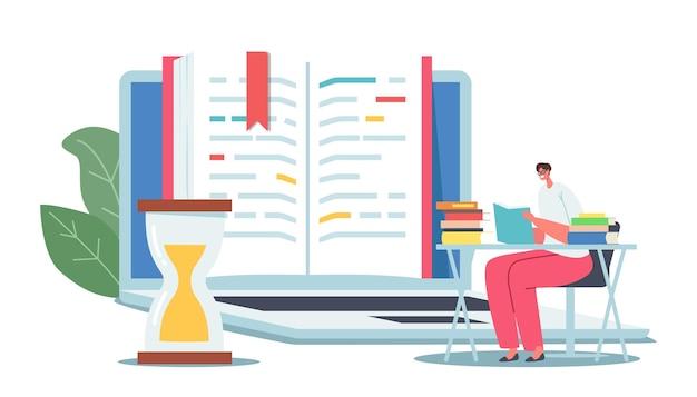 Winzige weibliche figur, die begeistert liest, sitzt am schreibtisch in der nähe eines riesigen offenen lehrbuchs