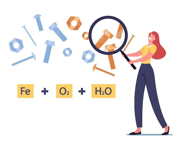 Winzige weibliche figur, die eine riesige lupe hält, schaut auf die formel der chemischen reaktion der metallkorrosion mit schrauben und muttern, die mit einer oxidischen rostigen rötlichen beschichtung bedeckt sind