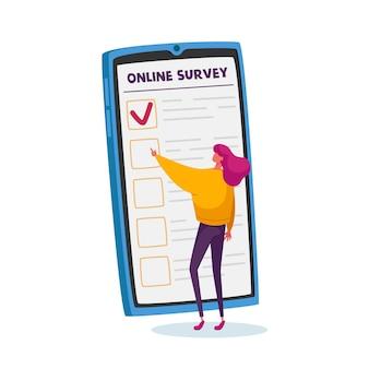 Winzige weibliche figur, die online-umfrageformular auf riesigem smartphone-bildschirm ausfüllt. wählerfragebogen, kundenfeedback, abstimmungsverfahren