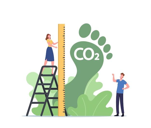 Winzige weibliche figur misst riesigen grünen fuß, co2-fußabdruck, co2-emissionskonzept für die umweltauswirkungen. gefährliche dioxid-wirkung auf das planeten-ökosystem. cartoon-menschen-vektor-illustration