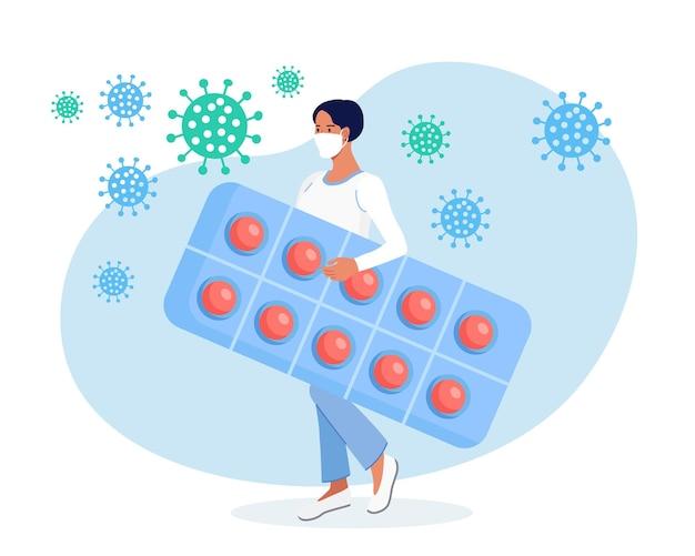 Winzige weibliche figur mit riesigen pillen, tabletten. apothekerbetreuung für patienten. professionelle pharmazeutische wissenschaft. krankheitsprävention, krankheitsbehandlung. gesundheitswesen und apotheke, drogerie
