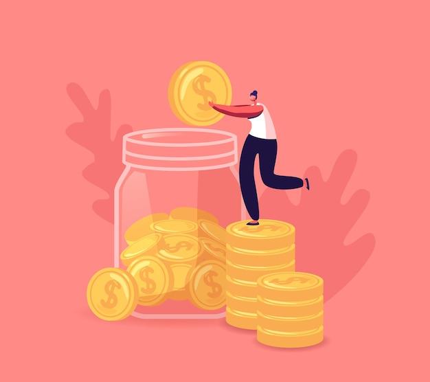 Winzige weibliche figur sammelt goldmünzen in einem riesigen glaskrug