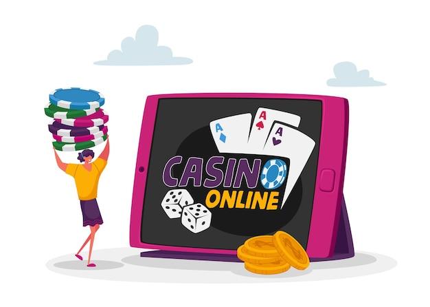 Winzige weibliche figur tragen stapel von pokerchips am riesigen tablet-pc mit online-casino-anwendung auf dem bildschirm.