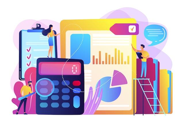 Winzige wirtschaftsprüfer, buchhalter mit lupe bei der prüfung des finanzberichts. prüfungsservice, finanzprüfung, beratungsservicekonzept.