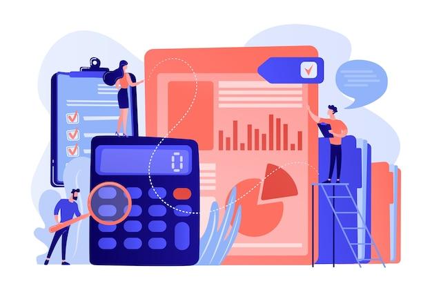 Winzige wirtschaftsprüfer, buchhalter mit lupe bei der prüfung des finanzberichts. prüfungsservice, finanzprüfung, illustration des beratungsdienstleistungskonzepts