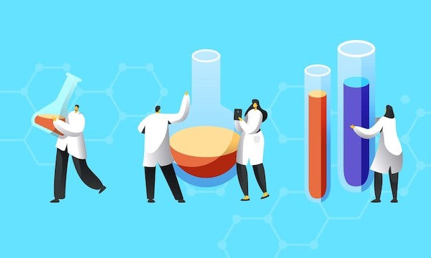 Winzige wissenschaftlercharaktere in weißen kitteln führen experimente im wissenschaftslabor durch.