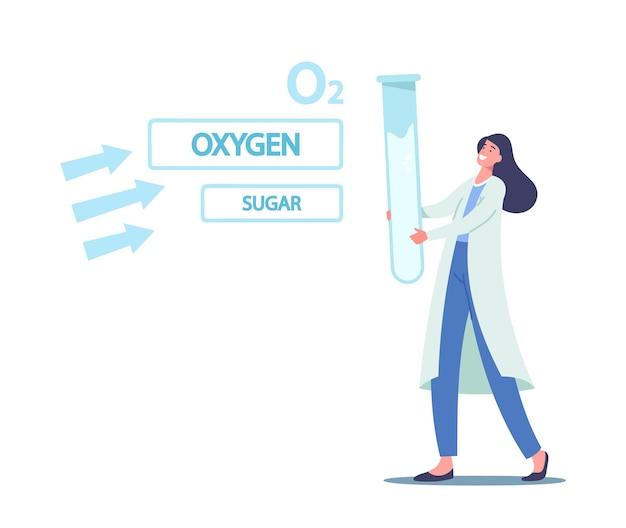 Winzige wissenschaftlerin im labor auf der suche nach einem riesigen glaskolben, der den photosyntheseprozess lernt. sonnenlicht verwandelt sich in chemische energie, zucker, sauerstoff und o2-elemente. cartoon-vektor-illustration