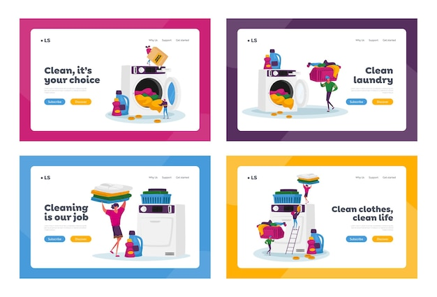 Winzige zeichen, die wäscheseite landing page template set besuchen