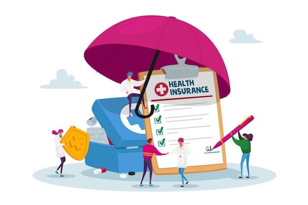 Winzige zeichen unter einem riesigen umbrella fill policy document