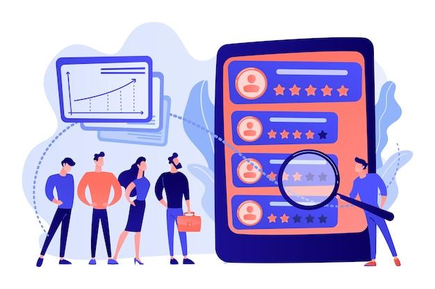 Winziger analytiker beobachtet die leistung der arbeiter auf dem tablet. leistungsbewertung, messung der mitarbeiterarbeit, illustration des feedback-konzepts zur arbeitseffizienz