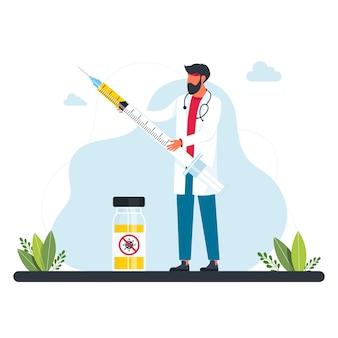 Winziger arzt hält eine insulinspritze für die impfung. mann hält injektionsspritze mit medikament oder impfstoff. konzept des durchbruchs und der errungenschaft der medizinischen wissenschaft bei der virus- und infektionsbehandlung