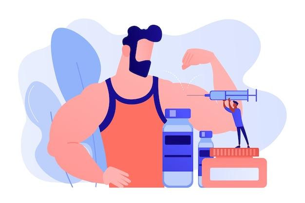 Winziger arzt mit spritze, die einem athleten eine injektion von anabolen steroiden macht. anabolika, anti-aging-hilfe, konzept für illegale sportdrogen. isolierte illustration des rosa korallenblauvektors