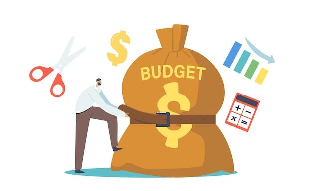 Winziger geschäftsmann charakter engen riesigen budget sack mit gürtel. geschäftsmann in der wirtschaftskrise, der versucht, die geldausgaben zu reduzieren. investitionsrückgang, verkaufsrückgang. cartoon-menschen-vektor-illustration