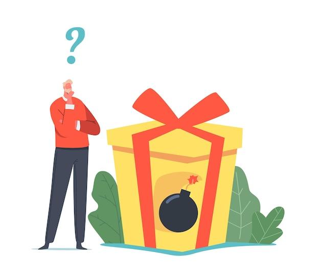 Winziger geschäftsmann-charakter-stand in riesiger geschenkbox mit versteckter brennender bombe im inneren