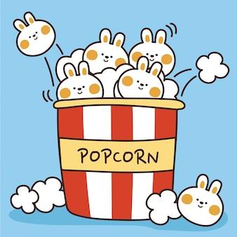 Winziger kaninchen-popcorn-cartoon. netter babyhase.