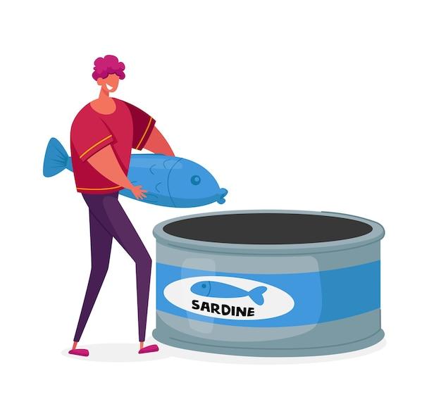 Winziger männlicher charakter auf konservenfabrik riesige sardine in dosenbehälter legen