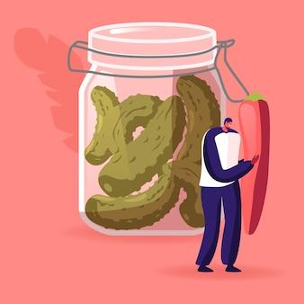 Winziger männlicher charakter, der riesigen roten chili-pfeffer-stand am glasglas mit marinierten gurken hält. cartoon-illustration