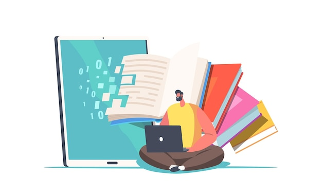 Winziger männlicher charakter mit laptop in den händen, der an riesigen büchern sitzt und informationen von papierseiten in digitale version, digitalisierung, online-bildung und bibliothek umwandelt. cartoon-vektor-illustration