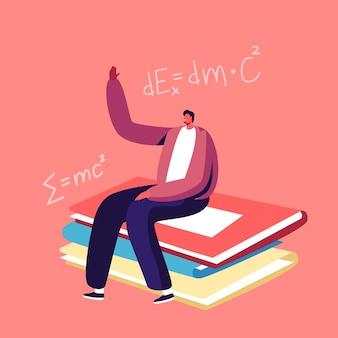 Winziger schülercharakter, der am riesigen lehrbuchstapel im klassenzimmer sitzt und hand für antwortstunde hebt.
